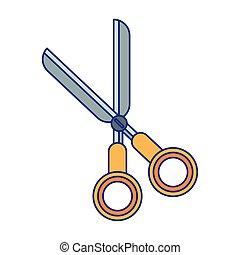 azul, escola, utensílio, símbolo, linhas, isolado, tesouras