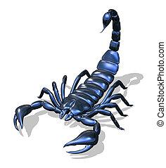 azul, escorpión, metálico