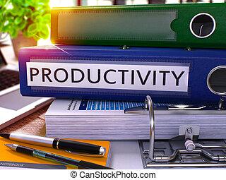 azul, escritório, pasta, com, inscrição, productivity.
