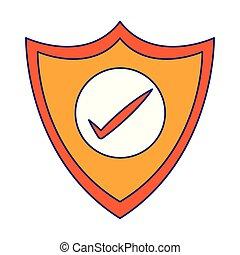azul, escudo, linhas, isolado, proteção, online, segurança