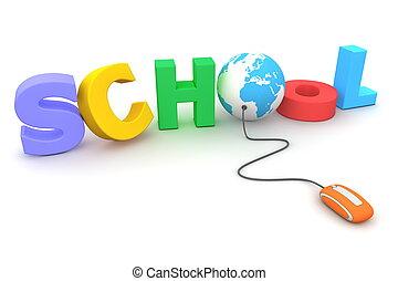 azul, escuela, ramonear, globo, -, colorido, mezclado