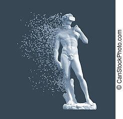 azul, escultura, david, vr, plano de fondo, digital,...