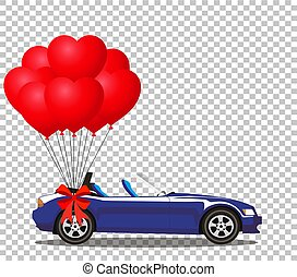 azul, escuro, balões, cabriolé, car