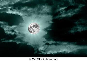 azul, escuro, céu lua, noturna