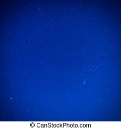 azul, escuro, céu noite, com, estrelas