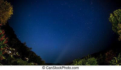 azul, escuro, céu noite, com, muitos, estrelas