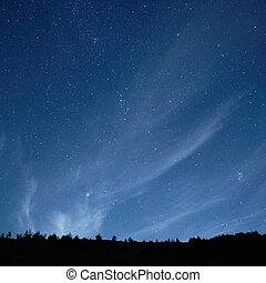 azul, escuro, céu noite, com, stars.