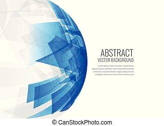 azul, esfera, abstratos, fundo, 3d