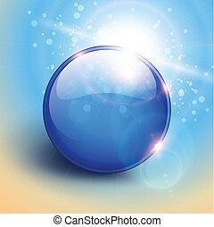 azul, esfera, fundo