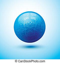azul, esfera, lustroso, padrão