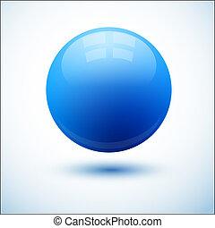 azul, esfera, sombra, lustroso
