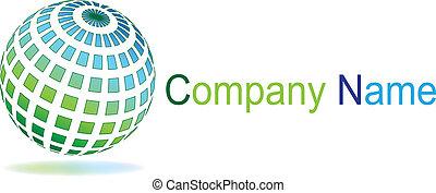azul, esfera, verde, logotipo