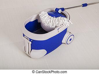 azul, esfregue balde, limpeza, chão