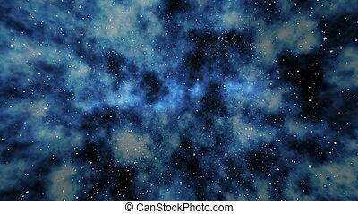 azul, espaço exterior, voando, profundo, através, rotação