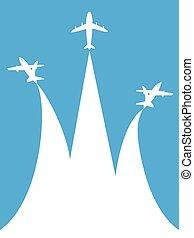 azul, espaço, fundo, branca, cópia, avião