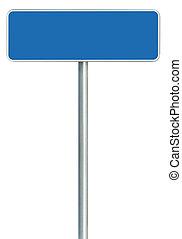 azul, espacio, aislado, blanco, signboard, señal, grande, encuadrado, zona lateral de camino, blanco, copia, marco, camino