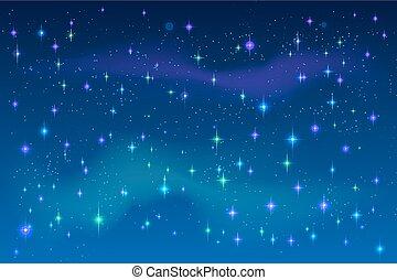 azul, espacio, sky., brillante, vector, estrellas, noche