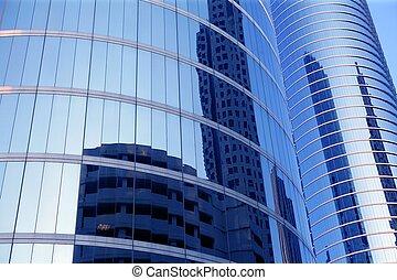azul, espejo, vidrio, fachada, rascacielos, edificios