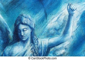 azul, espiritual, ángel, resumen, lona, fondo., pintura