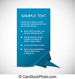 azul, esquina, vector, tarjeta, origami