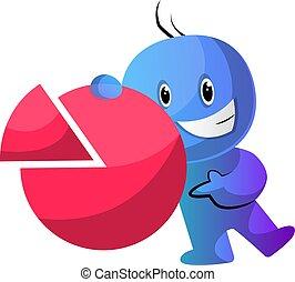 azul, estadística, ilustración, señal, vector, plano de...