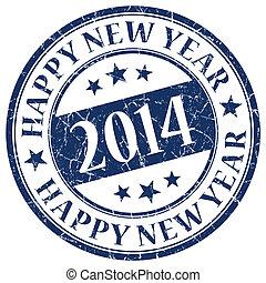 azul, estampilla, año nuevo, 2014, feliz