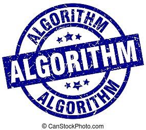 azul, estampilla, grunge, redondo, algorithm
