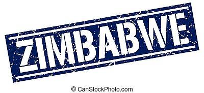 azul, estampilla, zimbabwe, cuadrado