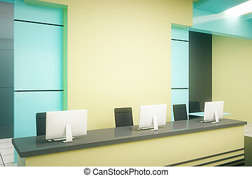 azul, estante, recepción