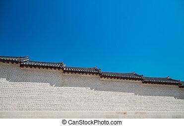 azul, estilo, antiga, parede, céu, branca, coreano