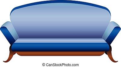 azul, estilo, camelo, sofá, ícone, caricatura