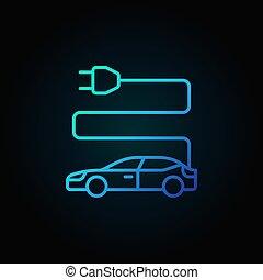 azul, estilo, carro elétrico, escuro, magra, fundo, linha, ícone