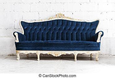 azul, estilo clássico, sofá, sofá, em, vindima, sala