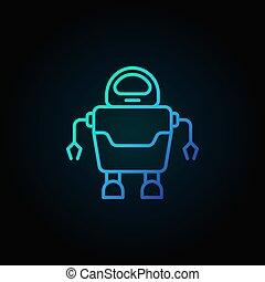 azul, estilo, conceito, robô, escuro, magra, fundo, linha, ícone