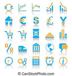 azul, estilo, conjunto, icono, markets.