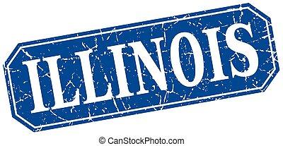 azul, estilo, cuadrado, grunge, illinois, retro, señal