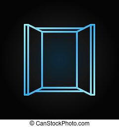 azul, estilo, escuro, janela, vetorial, fundo, linha, ícone