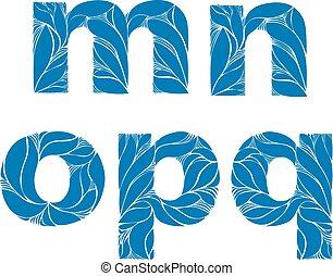 azul, estilo, este prego, n, letters., m, ornament., lowercase, typeset, elegante, vetorial, fonte, floral, herbário, q, p