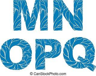 azul, estilo, este prego, n, m, caps., ornament., typeset, elegante, vetorial, fonte, floral, gota, marinho, q, p