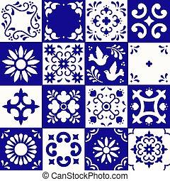 azul, estilo, flor, méxico, arte, talavera, folhas, cerâmico, pattern., azulejos, tradicional, floral, puebla., white., ornamentos, mosaico, marinha, mexicano, pássaro, povo, design.