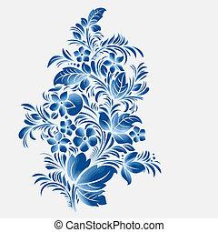 azul, estilo, flor, ornamento, gzhel, ruso