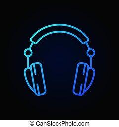 azul, estilo, fones, escuro, vetorial, fundo, linha, ícone