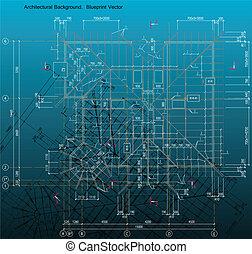 azul, estilo, frame., casa, impresión, vector, vigas, dibujo