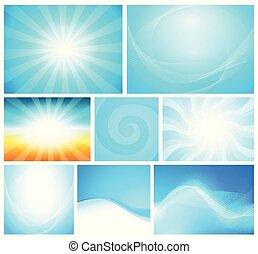 azul, estilo, jogo, cor, abstratos, modernos, -, diferente, vetorial, fundo, ilustrações, brilhante