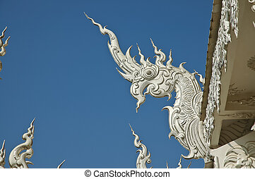 azul, estilo, lanna, norteño, naga, cielo, debajo, tailandia, blanco, templo, sculture