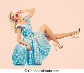 azul, estilo, mulher, pino, coquette, jovem, loura,...