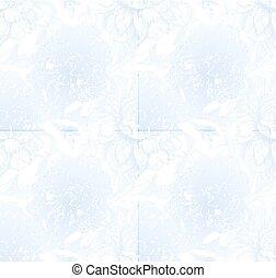 azul, estilo, peonía, vendimia, seamless, vector, luz, ...
