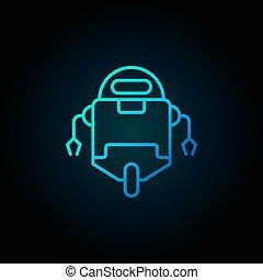 azul, estilo, robô, escuro, magra, fundo, linha, ícone
