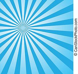 azul, estilo, sunburst, retro