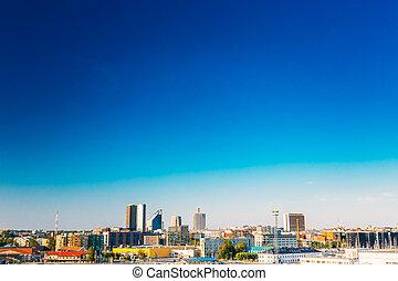 azul, estonia., estónia, céu, skyline, amanhecer, tallinn